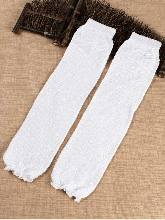 trendy Solid Color Stripe Leg Warmers - WHITE