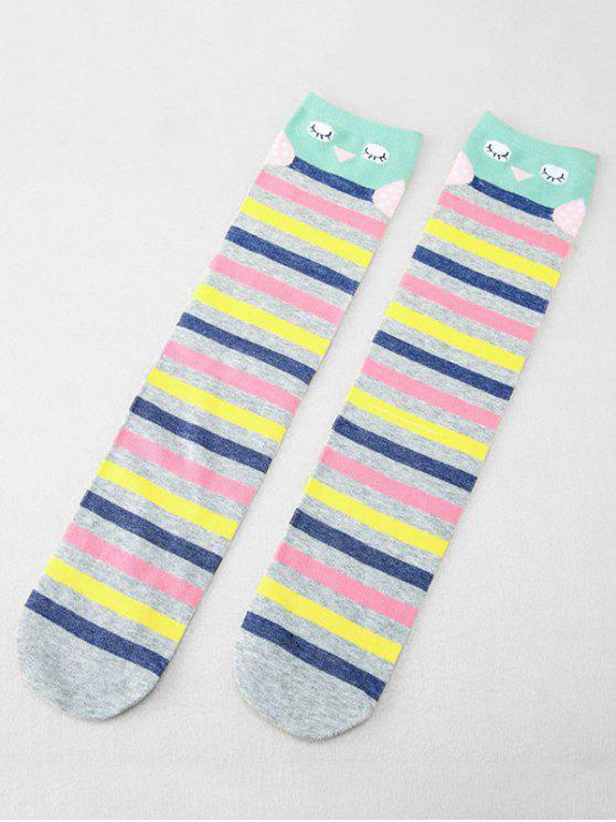 women's Cute Polka Dot Knitted Medium Stockings - MULTI-C