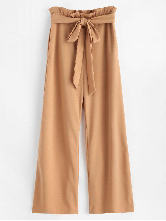 womens ZAFUL High Waisted Wide Leg Palazzo Pants - LIGHT BROWN M