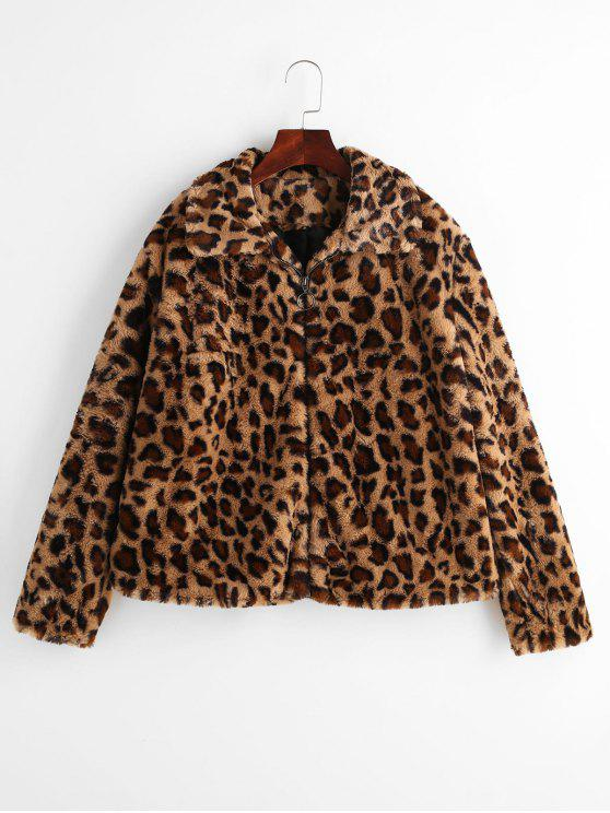 fancy ZAFUL Faux Fur Leopard Print Winter Coat - LEOPARD L