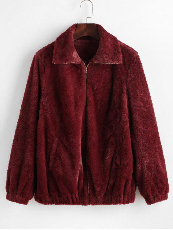 outfit ZAFUL Faux Fur Winter Coat - RED WINE M