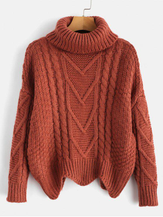 buy Chunky Knit Turtleneck Sweater - CHESTNUT RED ONE SIZE