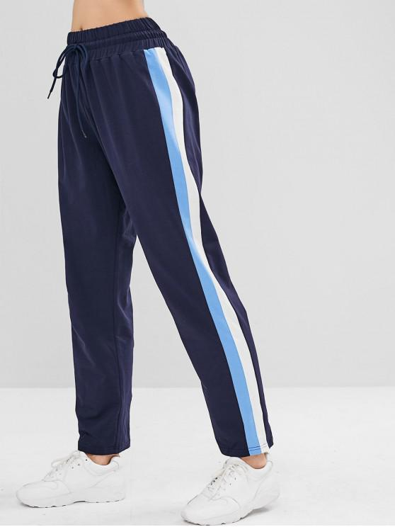 trendy ZAFUL Striped Side Drawstring Pants - CADETBLUE L
