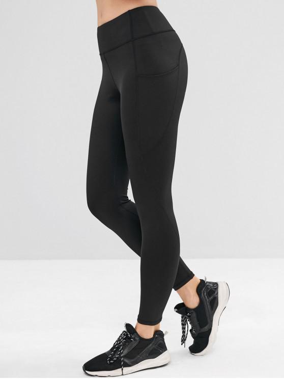 affordable Pocket Skinny Sports Leggings - BLACK S