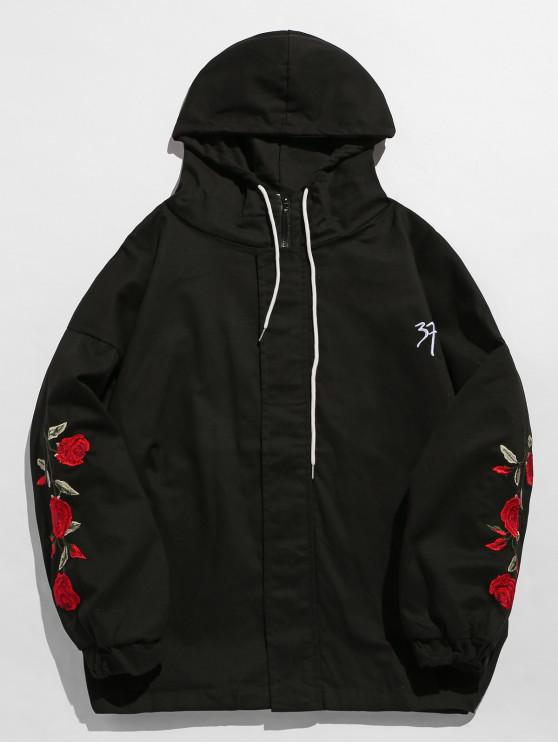 shop Zip Fly Flower Embroidery Hooded Jacket - BLACK L