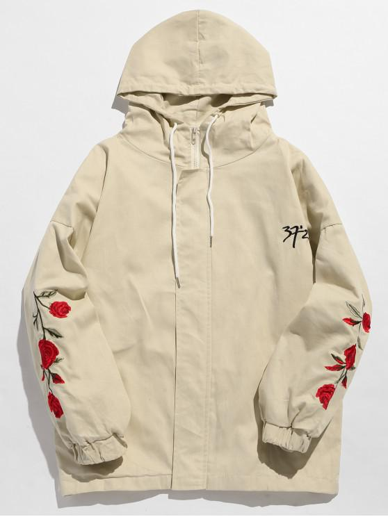 hot Zip Fly Flower Embroidery Hooded Jacket - WARM WHITE M