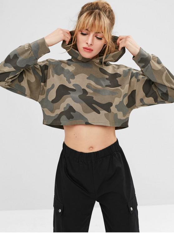 hot Camo Crop Sports Hoodie - ACU CAMOUFLAGE M