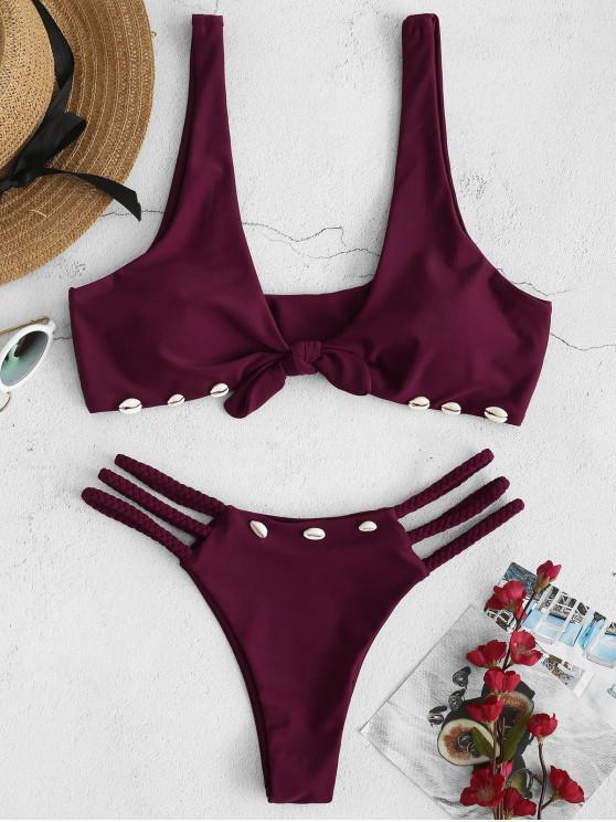 Bikini Trenzado con Nudo de Caracol ZAFUL - Terciopelo de Ciruela S