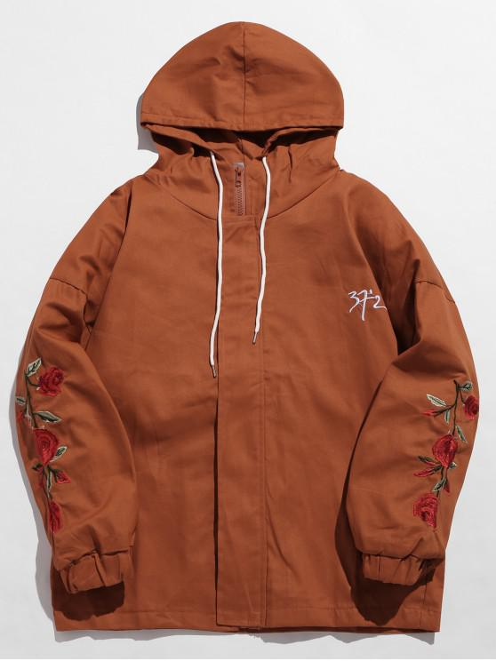hot Zip Fly Flower Embroidery Hooded Jacket - CHOCOLATE L
