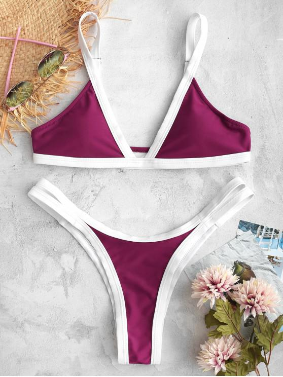 new ZAFUL Color Block High Leg Cutout Bikini Set - DARK ORCHID M