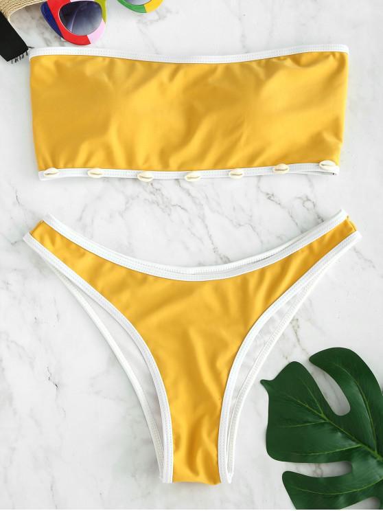 Bikini A Fascia Decorato Con Conchiglia Di ZAFUL - Fiore Giallo L