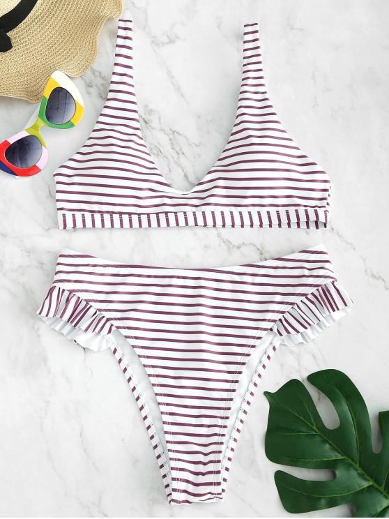 outfit ZAFUL Frilled Striped Bikini Set - VIOLA PURPLE L