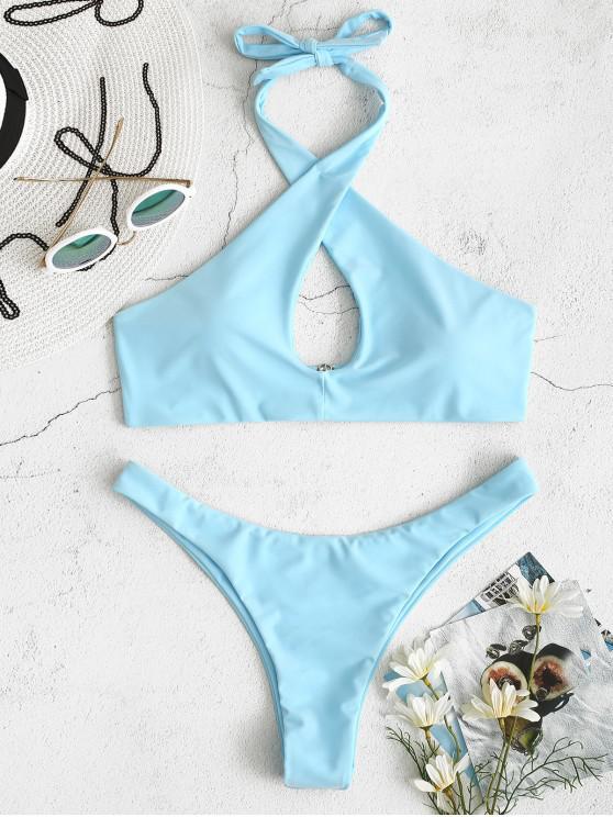 hot ZAFUL Halter Cross Keyhole Bikini Set - LIGHT SKY BLUE L