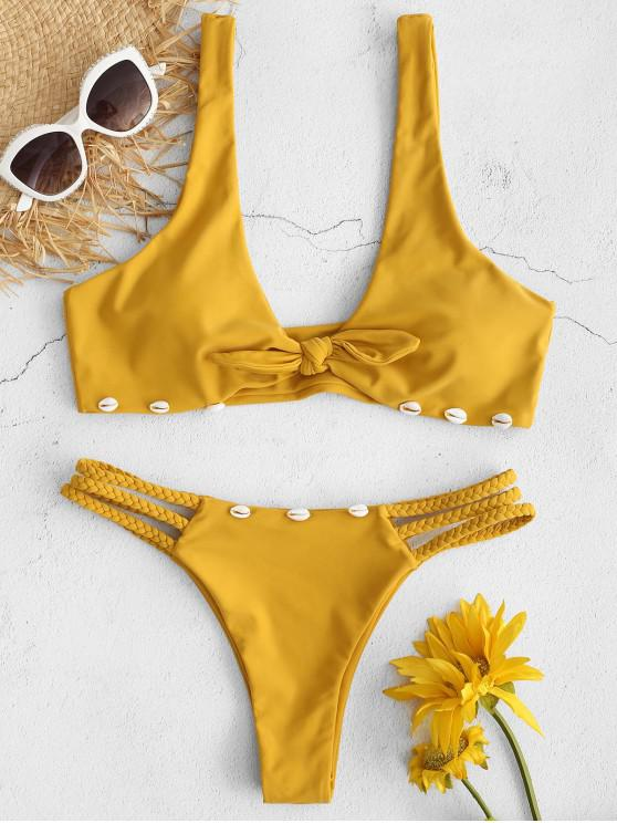 Bikini Trenzado con Nudo de Caracol ZAFUL - Marrón Dorado S
