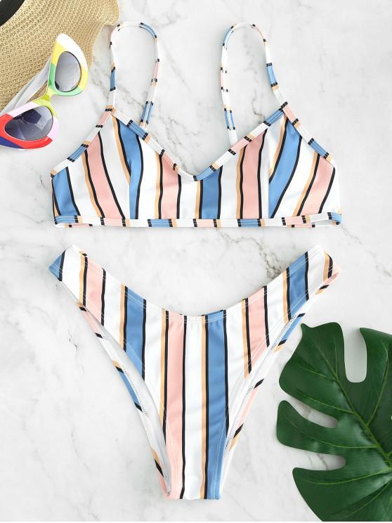 outfits ZAFUL Colorful Striped Bikini Set - MULTI S