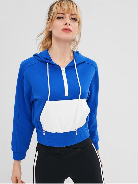 fashion ZAFUL Raglan Sleeve Half Zip Pocket Hoodie - BLUE L