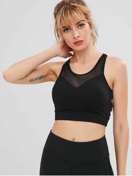 hot ZAFUL Lattice Mesh Insert Sports Bra - BLACK S