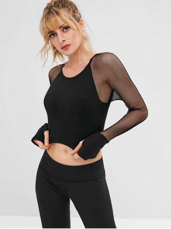 outfits ZAFUL Fishnet Raglan Sleeve Crop T-shirt - BLACK L