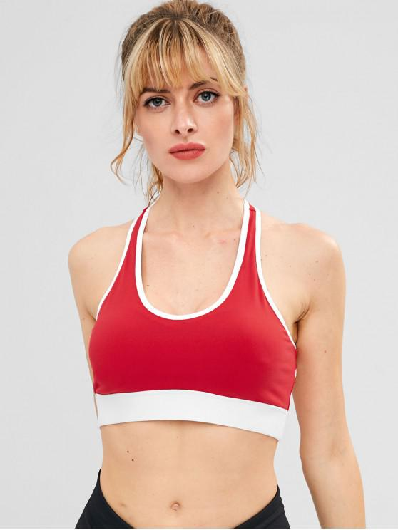 latest ZAFUL Contrast Piping Cutout Sports Bra - RED M