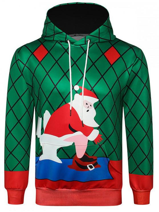 hot Santa Claus Printed Kanga Pocket Hoodie - MEDIUM SEA GREEN XL