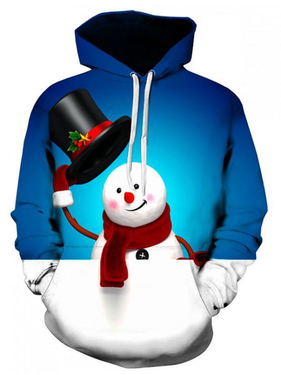 ladies Cute Snowman Printed Kangaroo Pocket Hoodie - BLUEBERRY BLUE M