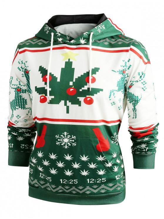 trendy Christmas Snowflake Print Long Sleeve Hoodie - GREEN M