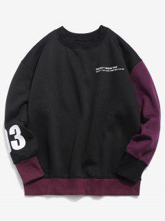 Contrasting Number Letter Fleece Sweatshirt - Black Xl