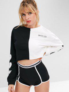 Raw Hem Two Tone Sports Sweatshirt - Black M
