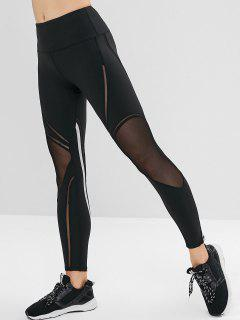 Striped Mesh Insert Gym Leggings - Black S