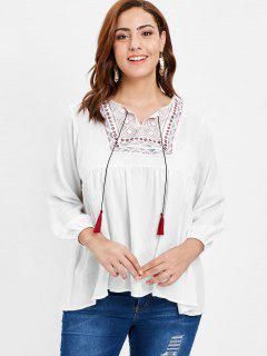 Plus Size Embroidered Smock Peasant Top - White 4x
