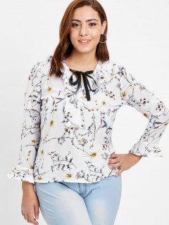 Tie Neck Floral Plus Size Ruffle Blouse - White 4x