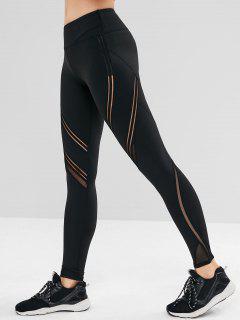 Mesh Insert Wide Waistband Sports Leggings - Black S