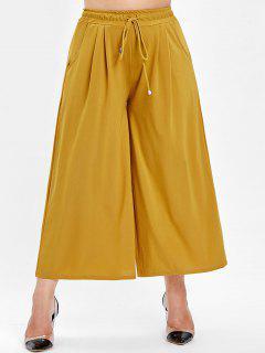 Plus Size Flowy Wide Leg Pants - Mustard 4x