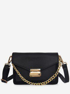 Minimalist Chain Solid Crossbody Bag - Black
