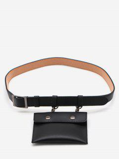 PU Leather Multi Function Waist Bag - Black