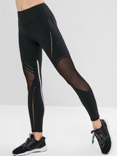 Striped Mesh Insert Gym Leggings - Black L
