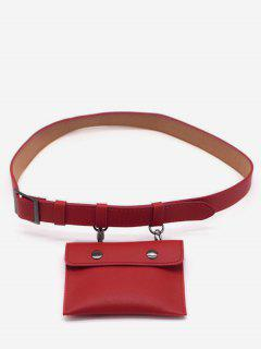 PU Leather Multi Function Waist Bag - Red Wine