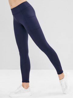 Pocket Stitching Sports Leggings - Cadetblue L
