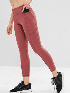 Stitching Pocket Sports Leggings - Lipstick Pink L