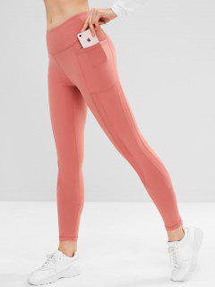 Pocket Mesh Insert Sports Leggings - Pink L