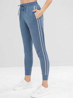 Perforated Striped Side Drawstring Pants - Blue Gray M