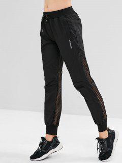 Letter Drawstring Perforated Jogger Pants - Black L