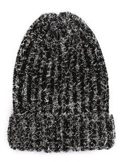 Striped Flanging Knitted Ski Cap - Black