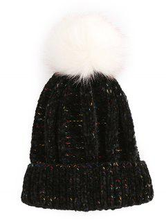 Stylish Fuzzy Ball Flanging Knitted Beanie - Black