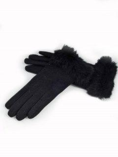 Full Finger Solid Color Fuzzy Gloves - Black