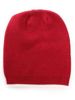 Winter Solid Color Knitted Ski Cap - Cherry Red