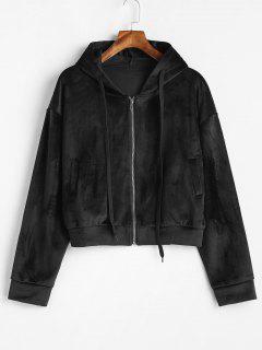 Exposed Velvet Zip Up Hoodie - Black S