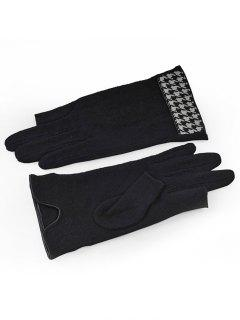 Winter Houndstooth Thicken Warm Gloves - Black