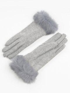 Full Finger Solid Color Fuzzy Gloves - Gray Goose