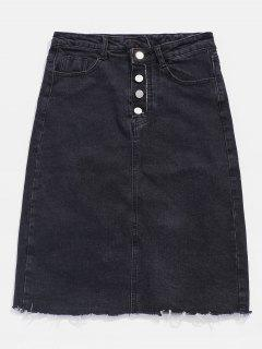 Button Fly Frayed Denim Pencil Skirt - Carbon Gray L
